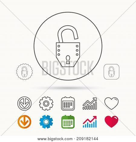 Open lock icon. Padlock or protection sign. Password symbol. Calendar, Graph chart and Cogwheel signs. Download and Heart love linear web icons. Vector