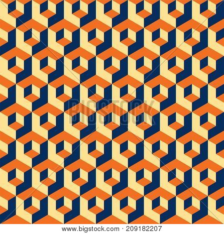 Seamless abstract geometric cubes optical illusion pattern texture. Orange, yellow and blue pattern.