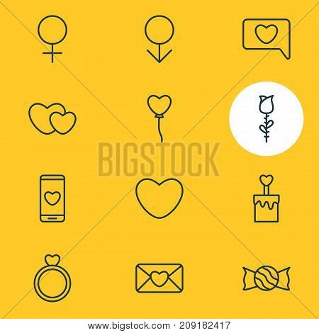 Editable Pack Of Lollipop, Hearts, Decoration And Other Elements.  Vector Illustration Of 12 Love Icons.