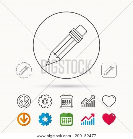Pencil icon. Drawing tool sign. Calendar, Graph chart and Cogwheel signs. Download and Heart love linear web icons. Vector