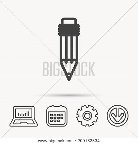 Pencil icon. Drawing tool sign. Notebook, Calendar and Cogwheel signs. Download arrow web icon. Vector