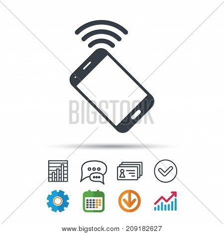Cellphone icon. Mobile phone communication symbol. Statistics chart, chat speech bubble and contacts signs. Check web icon. Vector