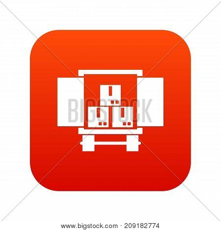 Cargo truck with load icon digital red for any design isolated on white vector illustration