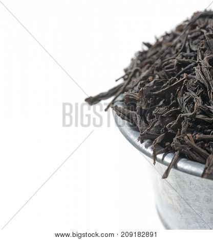 Ceylon tea in bucket with space for your text.
