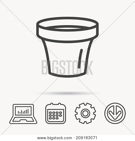 Flower pot icon. Gardening ceramic container sign. Notebook, Calendar and Cogwheel signs. Download arrow web icon. Vector
