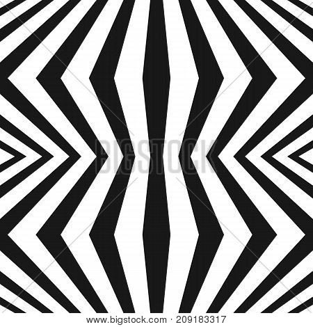 Vector geometric stripes pattern. Black and white seamless texture with vertical refracted lines. Abstract monochrome striped background, repeat tiles. Optical illusion. Trendy repeat design. Seamless pattern. 3d pattern. Stripes background.