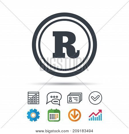 Registered trademark icon. Intellectual work protection symbol. Statistics chart, chat speech bubble and contacts signs. Check web icon. Vector