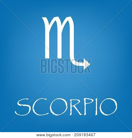 Scorpio zodiac sign icon. Vector simple illustration of Scorpio zodiac sign icon on blue background for any web design