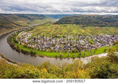 Moselle Landscape And The Wine Village Ernst  Rheinland Pfalz Germany