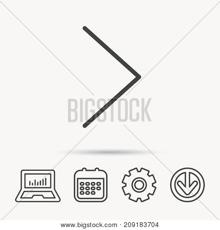 Right arrow icon. Next sign. Forward direction symbol. Notebook, Calendar and Cogwheel signs. Download arrow web icon. Vector
