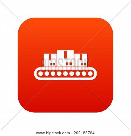 Belt conveyor with load icon digital red for any design isolated on white vector illustration