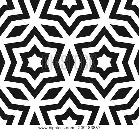 Vector seamless pattern, black & white ornament texture with linear stars, angular geometric figures. Abstract geometric monochrome background, repeat tiles. Design for prints, decor, furniture, cover.