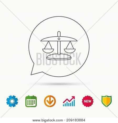 Scales of Justice icon. Law and judge sign. Measurement tool symbol. Calendar, Graph chart and Cogwheel signs. Download and Shield web icons. Vector