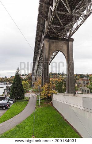 George Washington Memorial Bridge in Seattle Washington USA. Fall setting.