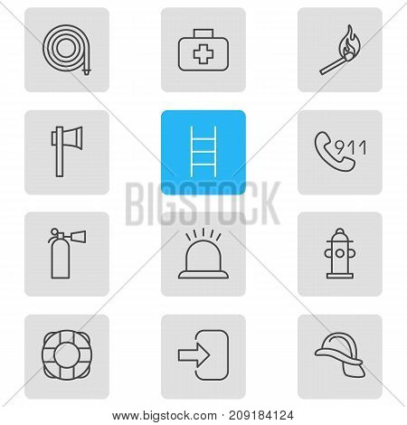Editable Pack Of Medical Case, Door, Ax And Other Elements.  Vector Illustration Of 12 Necessity Icons.
