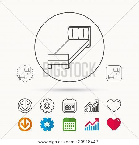 Single bed icon. Bedroom furniture sign. Calendar, Graph chart and Cogwheel signs. Download and Heart love linear web icons. Vector