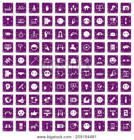 100 social media icons set in grunge style purple color isolated on white background vector illustration