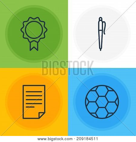 Editable Pack Of Pencil, Paper, Trophy And Other Elements.  Vector Illustration Of 4 Studies Icons.