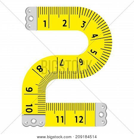 Number two ruler icon. Cartoon illustration of number two ruler vector icon for web