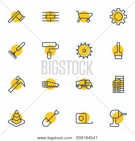Editable Pack Of Handle Hit, Hatchet, Paintbrush Elements.  Vector Illustration Of 16 Construction Icons.