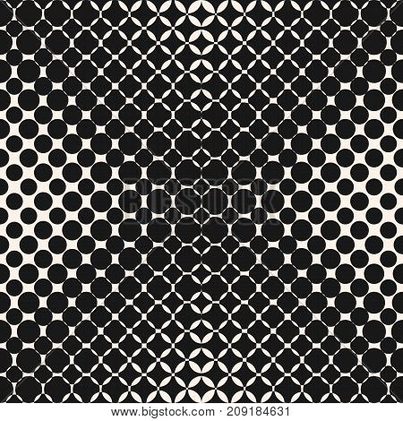 Vector geometric halftone seamless pattern with rounded shapes, circles, dots, perforated surface. Abstract monochrome repeat background texture. Design pattern. Decor pattern. Prints pattern. Digital pattern. Web pattern.