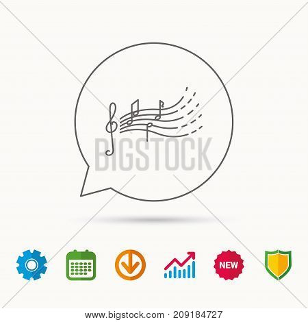 Songs for kids icon. Musical notes, melody sign. G-clef symbol. Calendar, Graph chart and Cogwheel signs. Download and Shield web icons. Vector