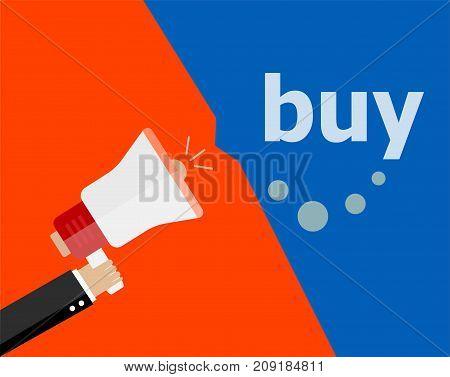 Buy Digital. Flat Design Business Concept. Marketing Business Man Holding Megaphone For Website And