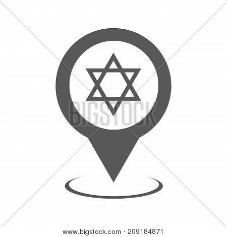 Synagogue map pointer icon. Simple illustration of synagogue map pointer vector icon black isolated on white background