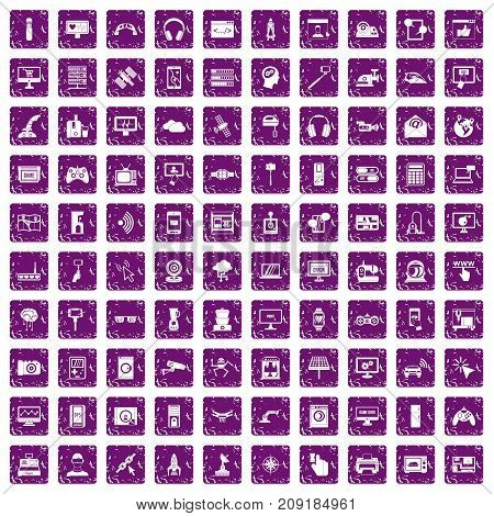 100 software icons set in grunge style purple color isolated on white background vector illustration