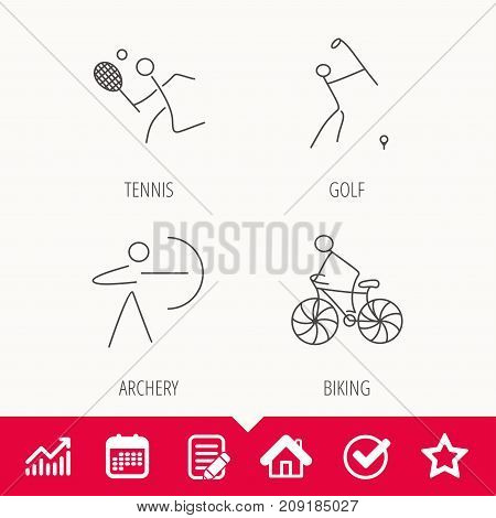 Biking, tennis and golf icons. Archery linear sign. Edit document, Calendar and Graph chart signs. Star, Check and House web icons. Vector