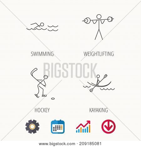 Swimming, hockey and kayaking icons. Weightlifting linear sign. Calendar, Graph chart and Cogwheel signs. Download colored web icon. Vector