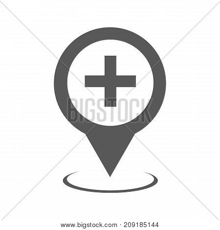Hospital map pointer icon. Simple illustration of hospital map pointer vector icon black isolated on white background
