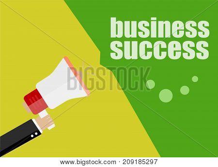business success. Flat design business concept Digital marketing business man holding megaphone for website and promotion banners