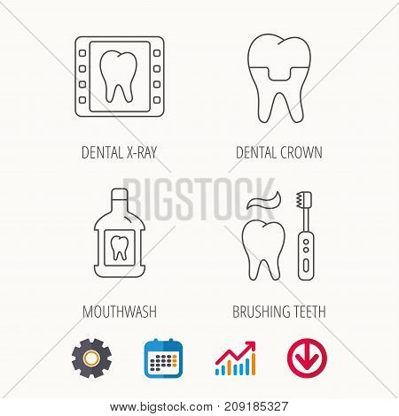 Dental crown, x-ray and brushing teeth icons. Mouthwash linear sign. Calendar, Graph chart and Cogwheel signs. Download colored web icon. Vector