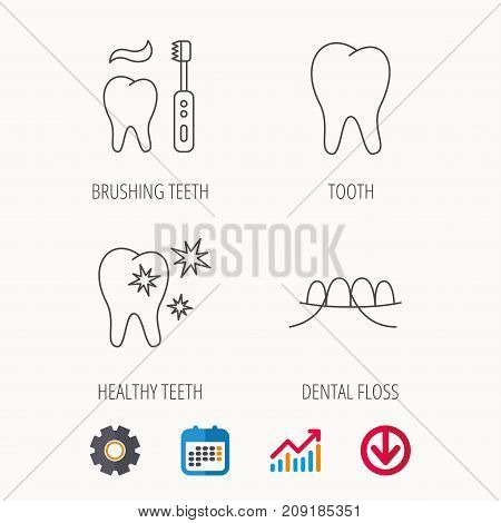 Dental floss, tooth and healthy teeth icons. Brushing teeth linear sign. Calendar, Graph chart and Cogwheel signs. Download colored web icon. Vector