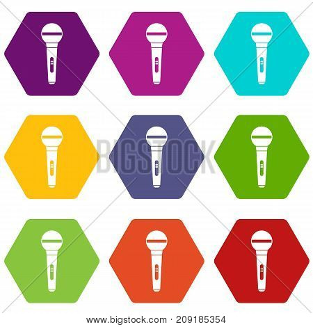 Microphone icon set many color hexahedron isolated on white vector illustration