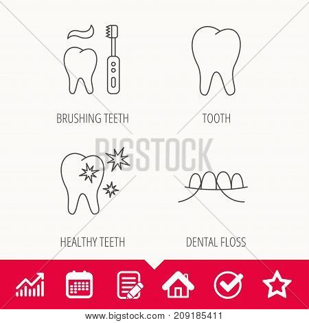 Dental floss, tooth and healthy teeth icons. Brushing teeth linear sign. Edit document, Calendar and Graph chart signs. Star, Check and House web icons. Vector
