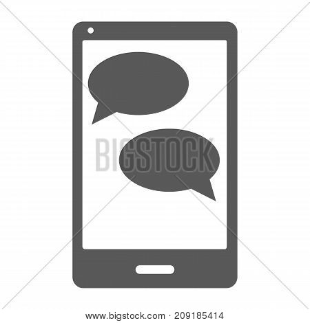 Mobile chat icon. Simple illustration of mobile chat vector icon isolated on white background