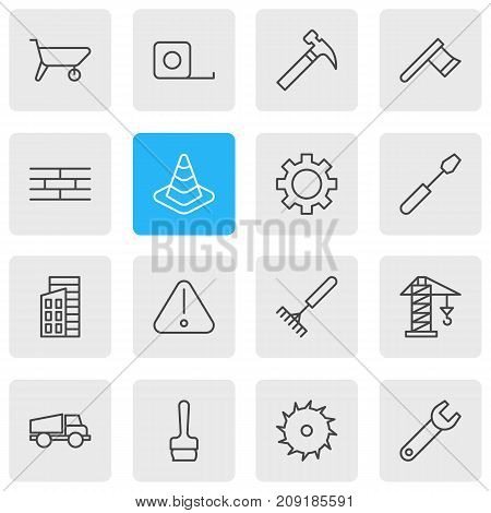 Editable Pack Of Handcart, Hatchet, Barrier Elements.  Vector Illustration Of 16 Structure Icons.