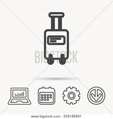 Suitcase with wheels icon. Travel baggage sign. Notebook, Calendar and Cogwheel signs. Download arrow web icon. Vector