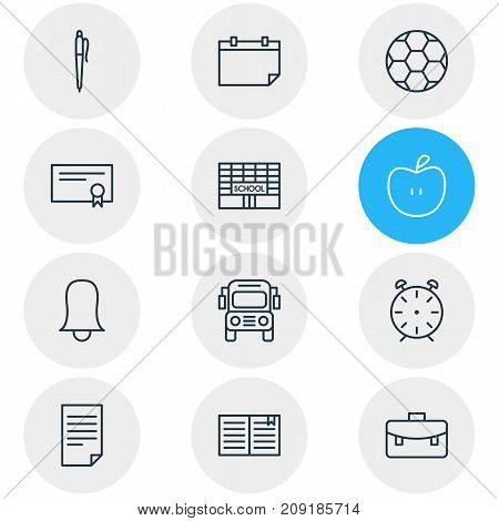Editable Pack Of Pencil, Car, Textbook And Other Elements.  Vector Illustration Of 12 Education Icons.