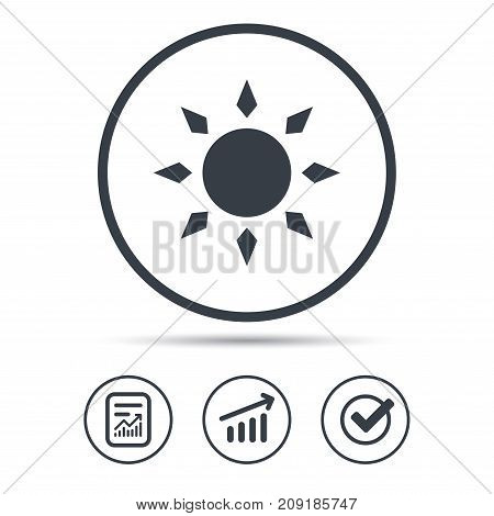 Sun icon. Sunny weather symbol. Report document, Graph chart and Check signs. Circle web buttons. Vector