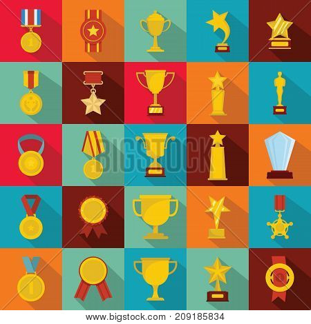 Medal award icon set. Flat illustration of 25 medal award vector icons for web