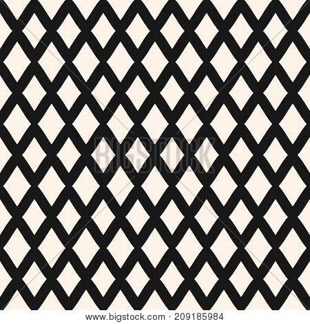 Diamonds seamless pattern. Vector rhombuses geometric texture. Simple abstract monochrome background with intersecting lines, lattice, mesh, repeat tiles. Square design for tileable print, textile. Mesh pattern. Lattice pattern. Rhombuses pattern.