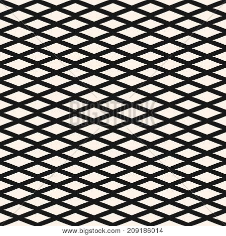 Diamond seamless geometric pattern. Simple stylish vector texture with rhombuses, intersecting lines. Elegant abstract monochrome background. Design element for decoration, fabric, textile, covers. Lines pattern. Mesh pattern. Rhombuses pattern.