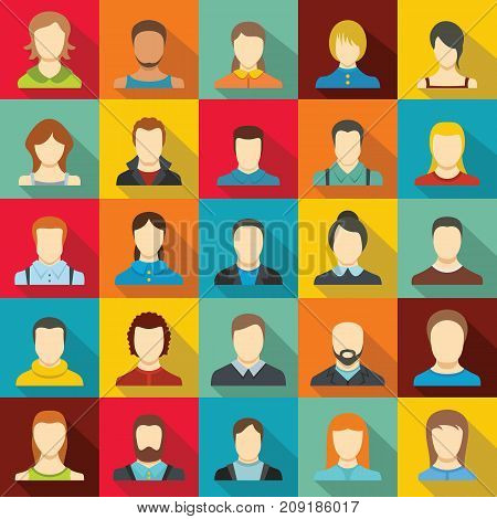 Avatar user icon set. Flat illustration of 25 avatar user vector icons for web