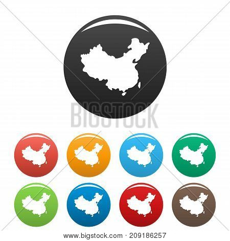 China map icons set. Vector simple set of China map vector icons in different colors isolated on white