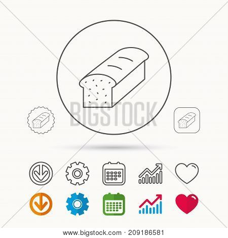 Toast icon. Sliced bread sign. Bakery symbol. Calendar, Graph chart and Cogwheel signs. Download and Heart love linear web icons. Vector