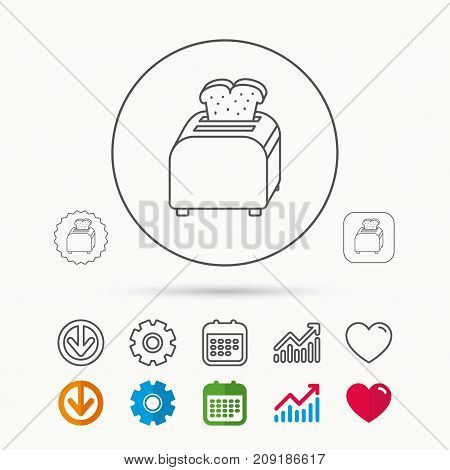 Toaster icon. Sandwich machine sign. Calendar, Graph chart and Cogwheel signs. Download and Heart love linear web icons. Vector