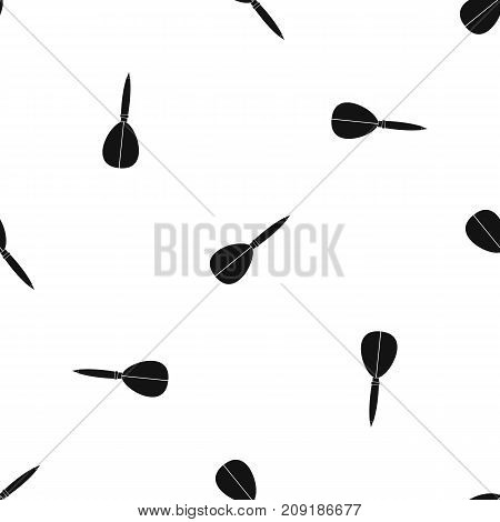 Arrow to play dart pattern repeat seamless in black color for any design. Vector geometric illustration
